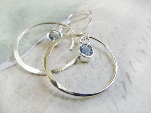 Aquamarine and White Gold Hoop Earrings - Handmade by James Christain