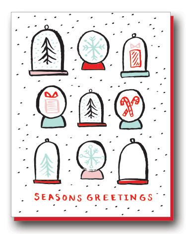 SEASONS GREETINGS SNOW GLOBES