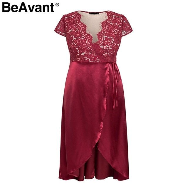 BeAvant Vintage red lace women dress plus size dress V neck satin summer dresses 2019 Split party sexy dress female vestidos