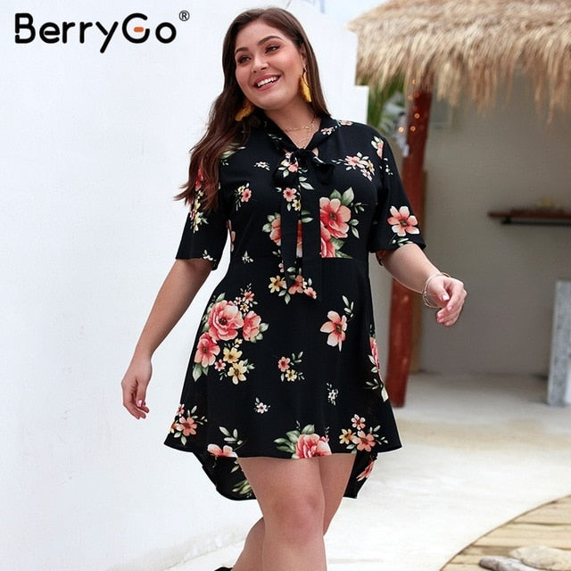 BerryGo floral print women dress chiffon bohemian summer dress Bow tie Short sleeve ladies party mini dressElegant plus size