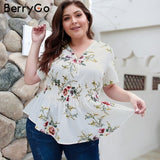 BerryGo  women blouse Bohemian floral print plus size shirt V-neck elastic high waist tops female Summer casual chiffon blouse