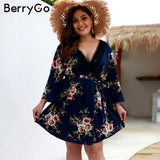 BerryGo women dress Sexy  floral print bohemian dresses v-neck plus size chiffon summer dress Sash high waist party mini dress
