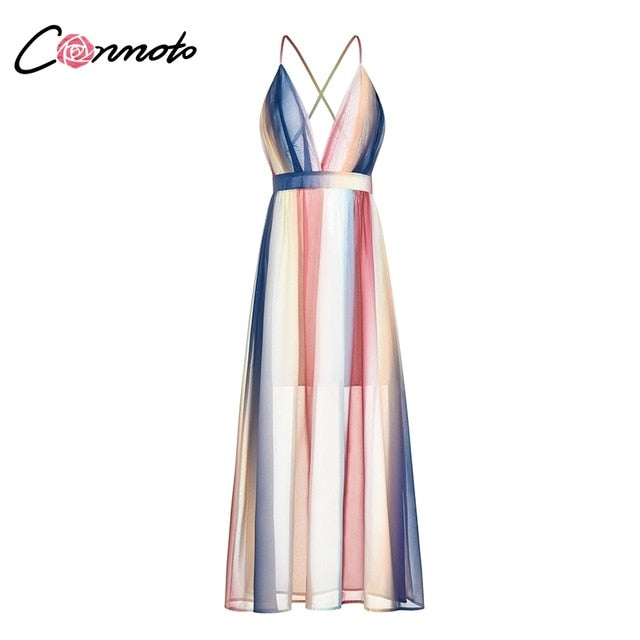 Conmoto Sexy Stripe Contrast Color Long Dress Women 2019 Summer Holiday Party Dress Backless Strap Chiffon Dress Plus Size