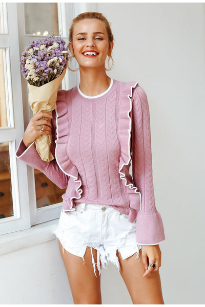 Side Ruffle Sweater