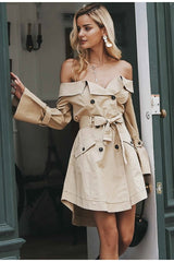 Buy Off The Shoulder Trench Coat