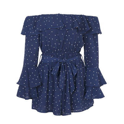 Off Shoulder Ruffle Dot Romper