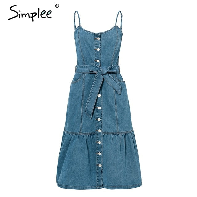 Simplee Elegant blue denim long dress women Spaghetti strap buttons bow sash dresses Casual female spring vestidos dress 2019