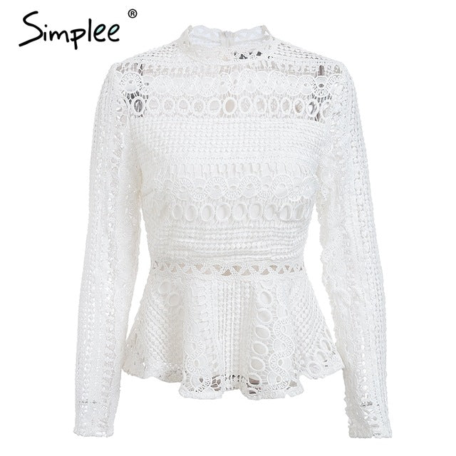 Simplee Elegant lace hollow out peplum blouse shirt women Ruffles long sleeve white blouse female Autumn winter tops office lady