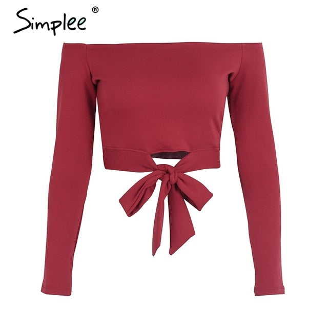 Simplee Off shoulder tie up tank top tees Sexy shirt crop tops women Bow Casual autumn 2017 streetwear shirt ladies tops