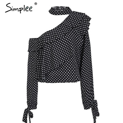 One Shoulder Polka Dot Blouse