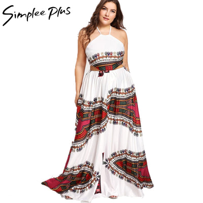 Simplee Plus Off shoulder boho print long dress women plus size backless lace up sexy maxi dress High waist 2018 summer dress
