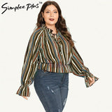 Simplee Plus color Striped Blouse Shirt autumn Women 2018Blouse Flare long Sleeve Tops Plus Size Pullover Tops Blouse Fashion
