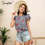 Simplee Ruffle sleeveless blouse shirt women Hollow out plaid floral blouse femme Casual streetwear summer feminine blouse 2018