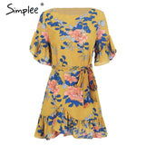 Simplee Sash floral print boho dress women mini dress Elegant o neck ruffle sleeve summer dress 2018 robe femme short dress