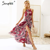 Simplee Sexy halter backless print dress women Eastic waist side slit boho long dress 2018 Tie up summer dress beach maxi dress