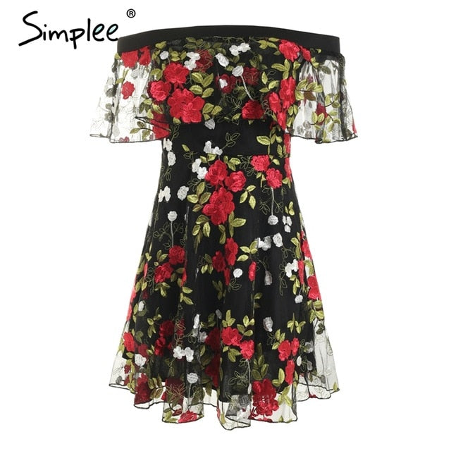 Simplee Sexy off shoulder embroidery lace dress women Ruffle mesh floral summer dress Backless streetwear casual short dress