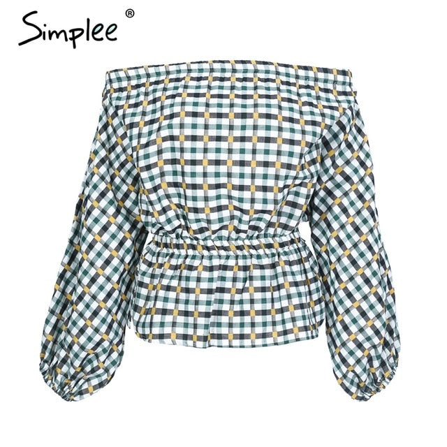 Simplee Sexy off shoulder plaid blouse shirt women Elastic waist puff long sleeve blouse 2018 Fashion streetwear summer blouse