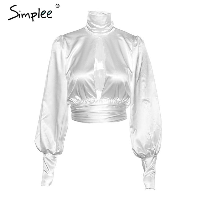 Simplee Vintage backless women blouse shirt Puff sleeve buttons satin white crop top Summer sexy fashion party female tops 2019