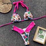 Simplee Vintage leopard print women bra sets bikini 2019 Push up thong swimsuit halter female High cut floral summer swimwear