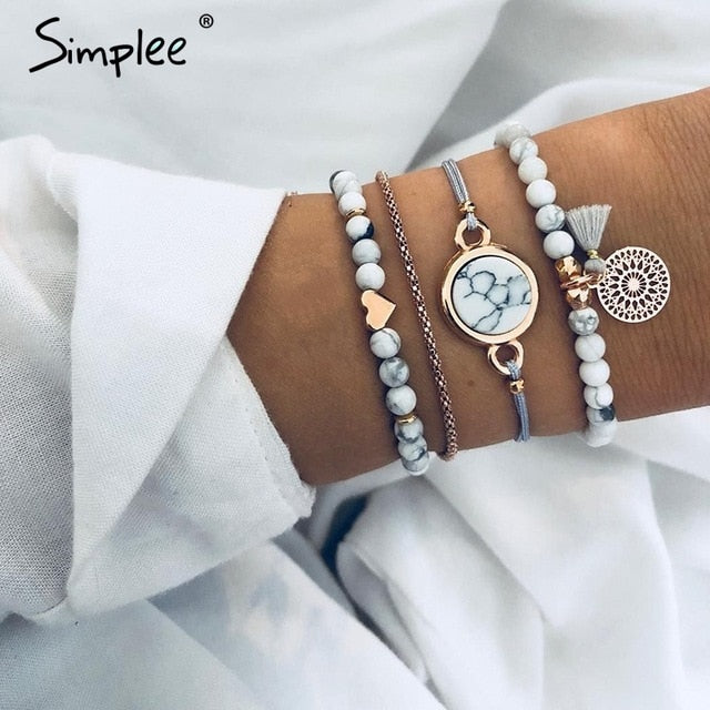Simplee Vintage multilayer bracelet women accessories Beading trendy metal fine jewelry Party streetwear clothing accessories