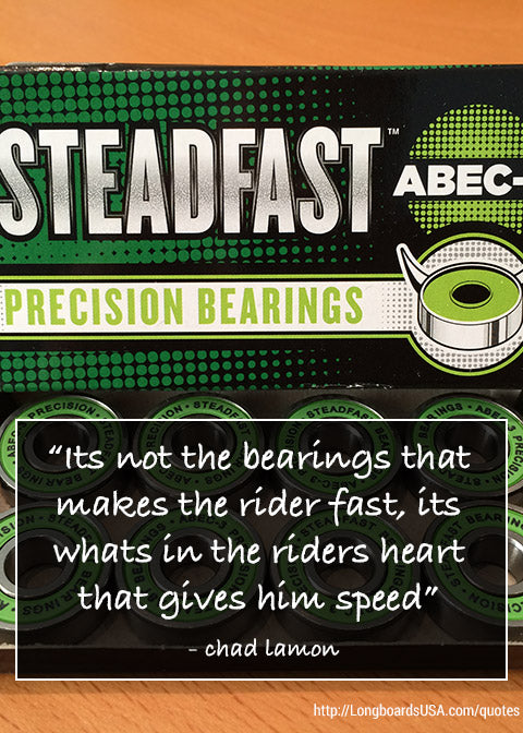 its not the bearing that makes the rider fast its whats in the riders heart that gives him speed