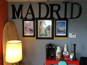 some longboards in the Madrid Skateboard offices
