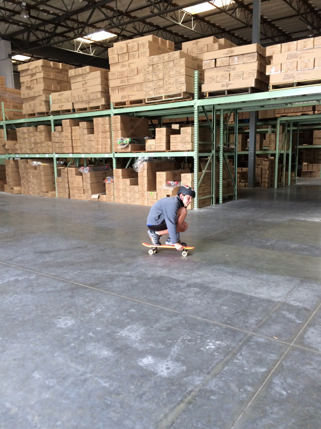 Cruising through Stella Longboard warehouse