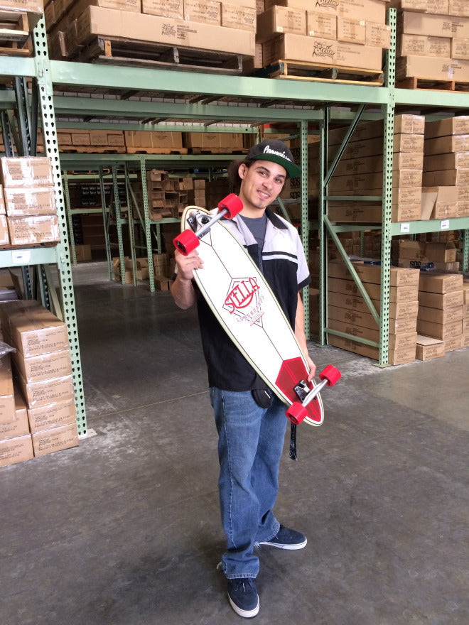 Mark with the the Stella Pintail Crimson Longboard model