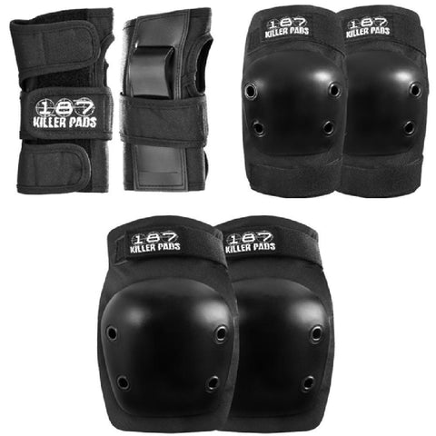 187 6-Pack Pad Set Jr-Black - Longboards USA