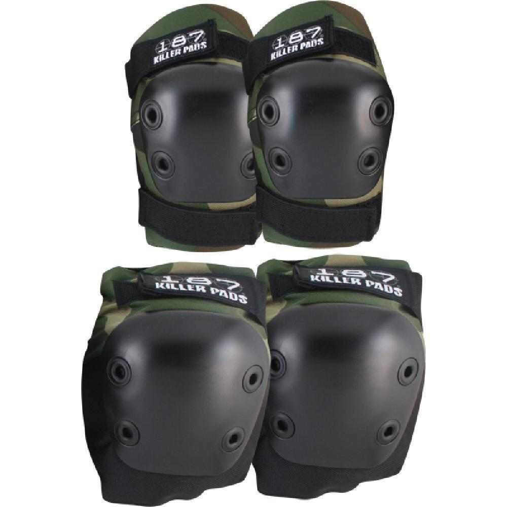 187 Combo Pack Knee Elbow Pad Set Xs-Camo - Longboards USA