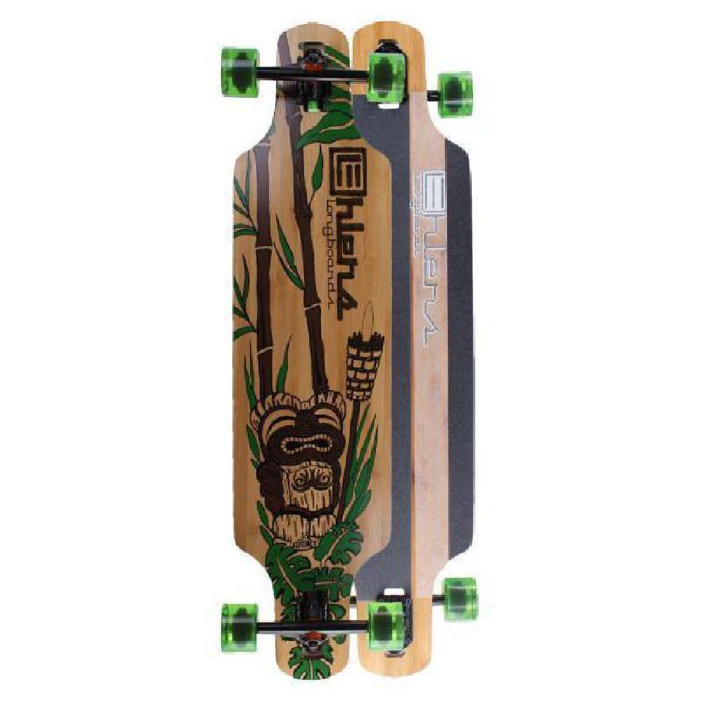 "Bamboo Drop Through Tiki God 40"" Longboard - Longboards USA"