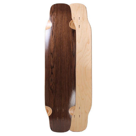"Blank Double Kicktail Topmount Dark Walnut 39"" Longboard Deck - Longboards USA"