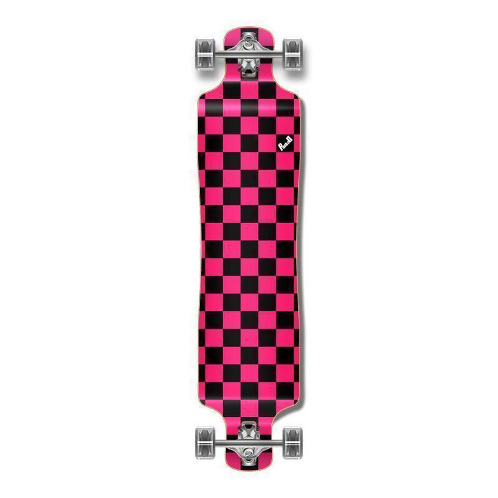 Checkered Pink Lowrider Double Drop Longboard from Punked - Longboards USA