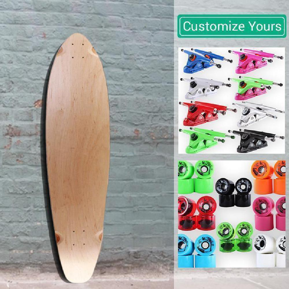 Custom Blank Kicktail Natural 40 inches Longboard - Longboards USA