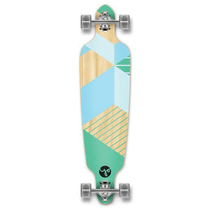 "Drop Through Longboard Geometric Green 41"" Graphic from Punked - Longboards USA"