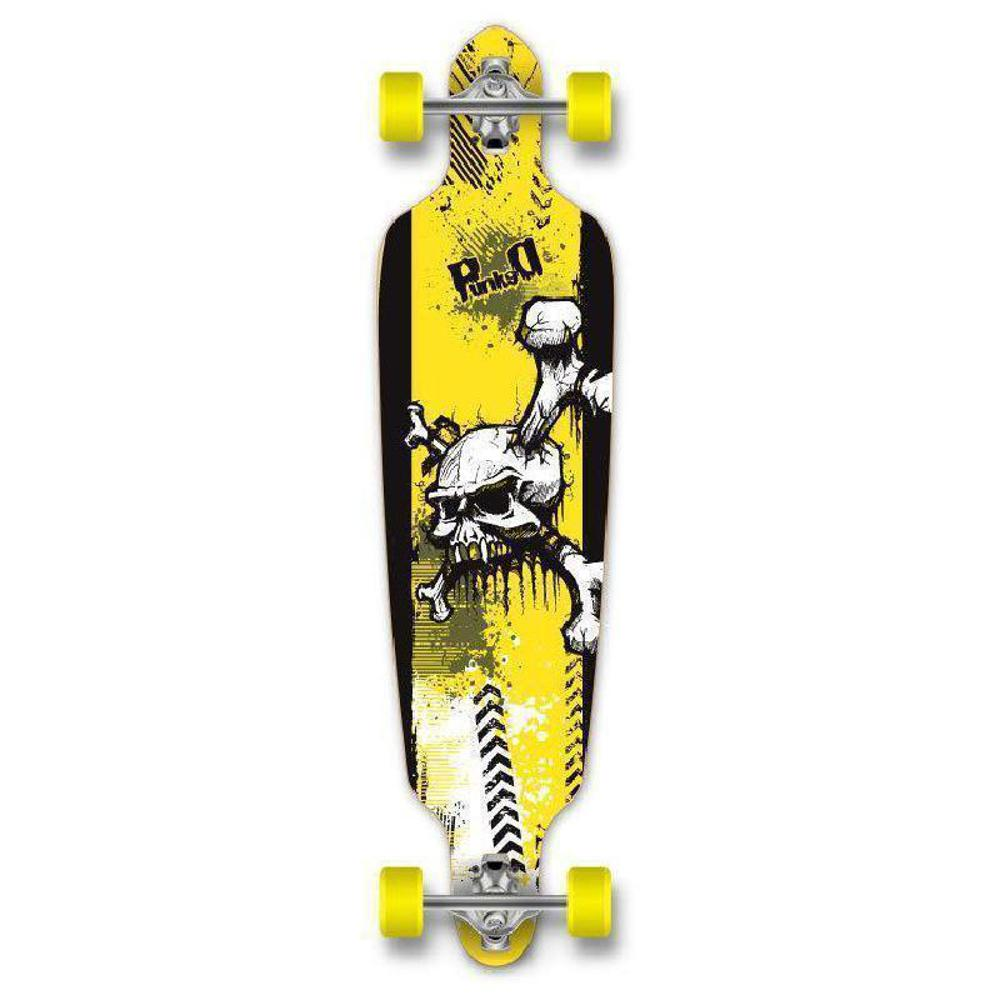 "Drop Through Longboard - Skull - 40"" Graphic from Punked - Complete - Longboards USA"
