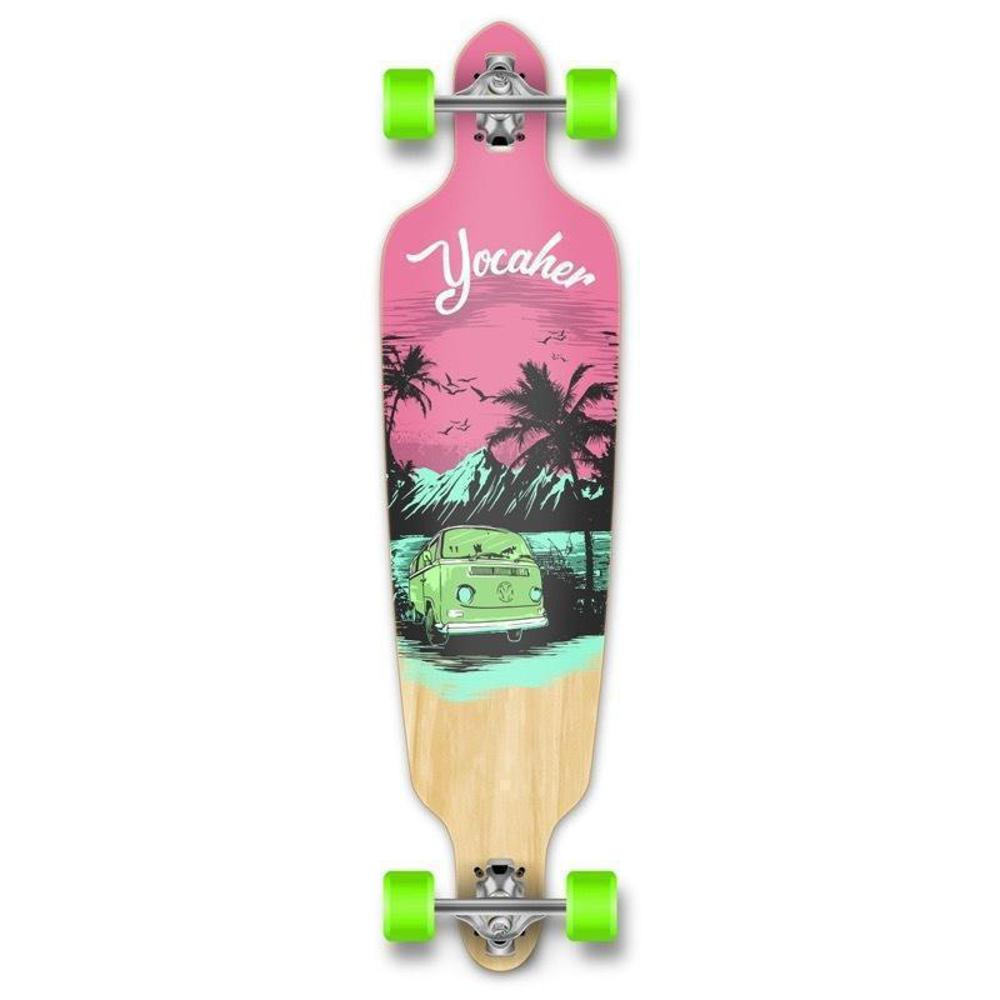 "Drop Through Longboard VW Pink N' Mint 41"" Graphic from Punked - Longboards USA"