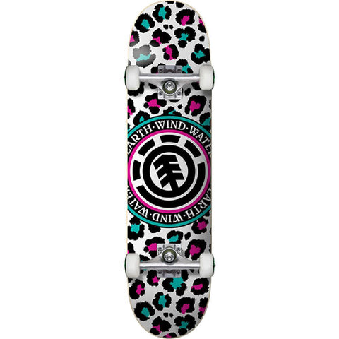 "Element Leopard Party White Teal Pink 7.5"" Skateboard - Longboards USA"