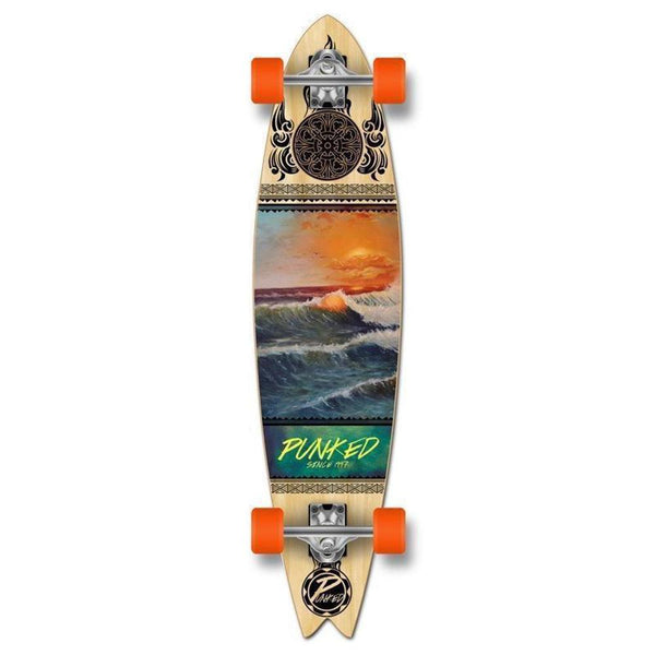 Fishtail Longboard 40 inch Wave Scene from Punked - Complete - Longboards USA