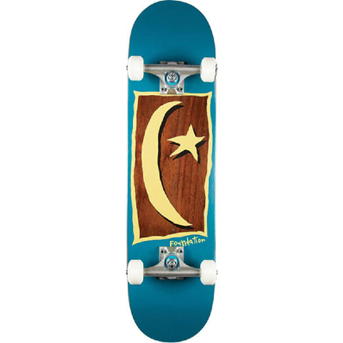 "Foundation Star & Moon V2 in Blue 7.88"" Skateboard - Longboards USA"
