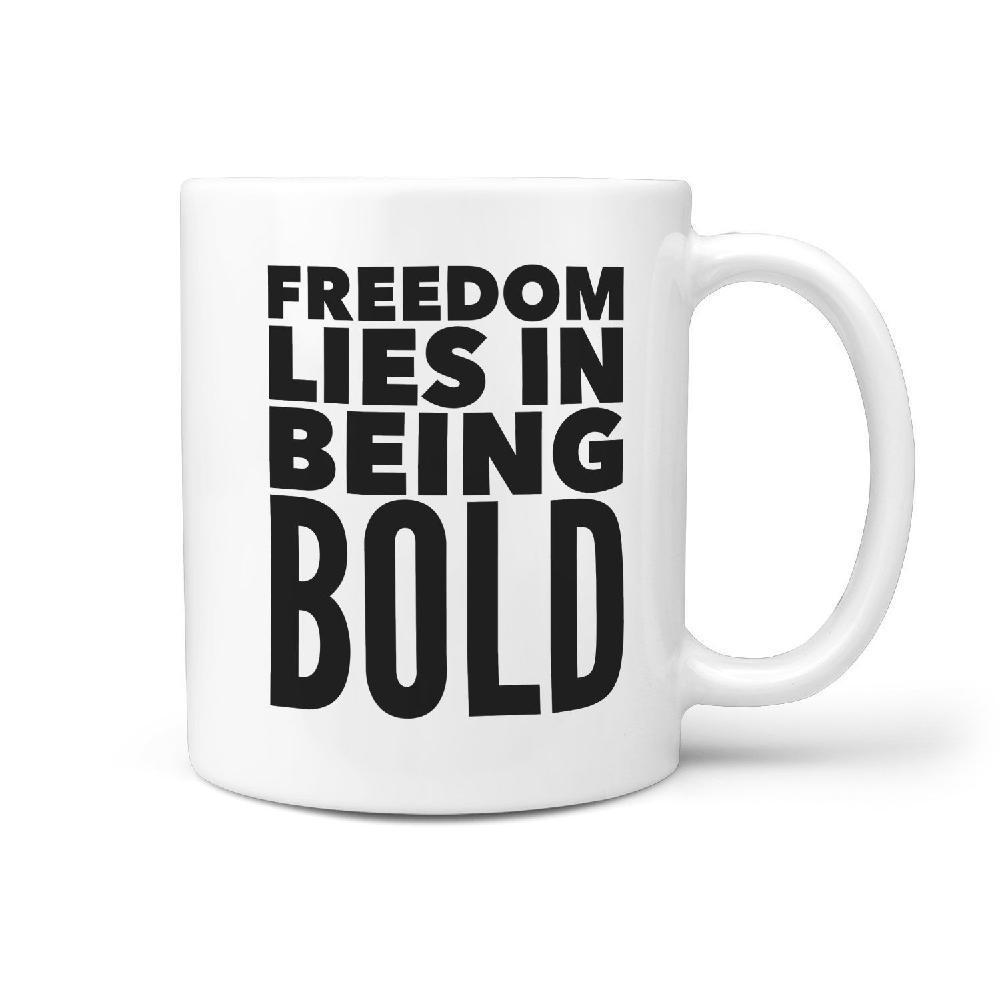 Freedom Lies in Being Bold Skateboard Coffee Mug - Longboards USA