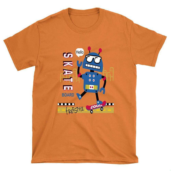 Funny Robot Skateboard T-Shirt - Longboards USA