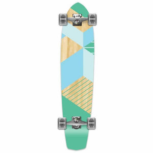 "Geometric Green 36"" Slimkick Longboard from Punked - Complete - Longboards USA"