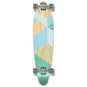 "Geometric Green 40"" Kicktail Longboard from Punked - Complete - Longboards USA"