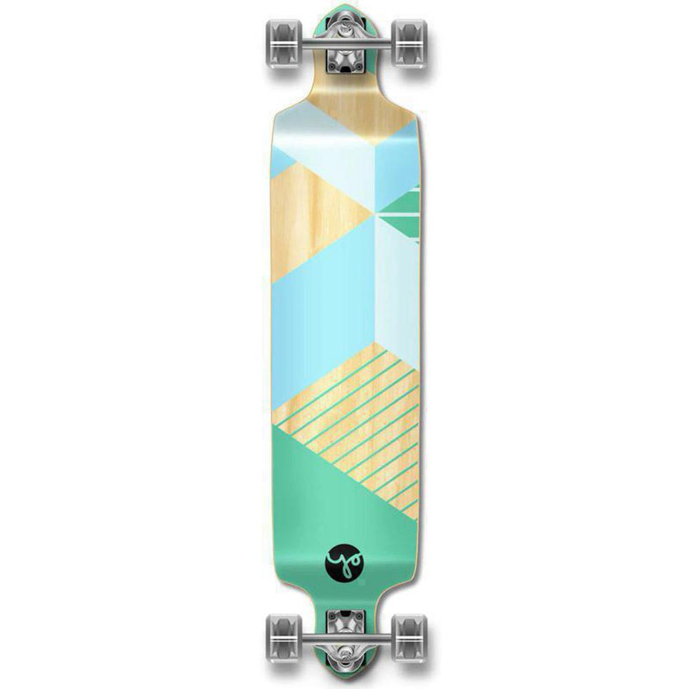 Geometric Green Drop Down Longboard 41 inches Complete - Longboards USA