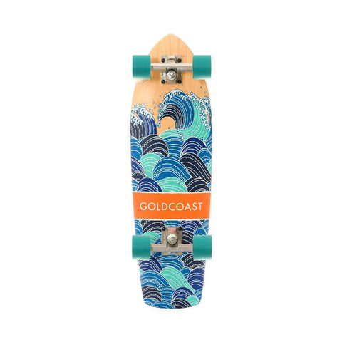 "GoldCoast 28"" Teal Swell Cruiser Longboard with Kicktail - Longboards USA"
