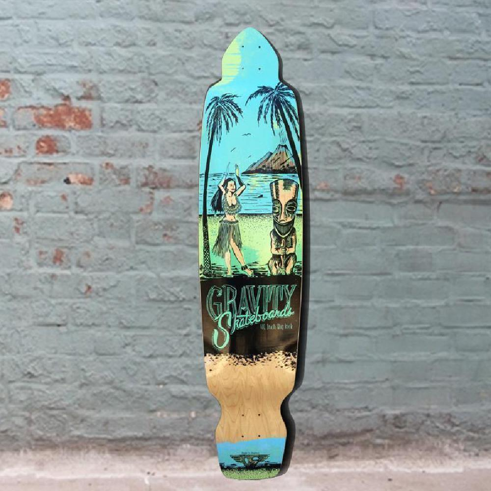 "Gravity Big Kick 45"" Tequila Sunrise Green Blue Longboard Deck - Longboards USA"