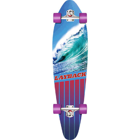 "Layback Going Left 38"" Complete Kicktail Longboard - Longboards USA"