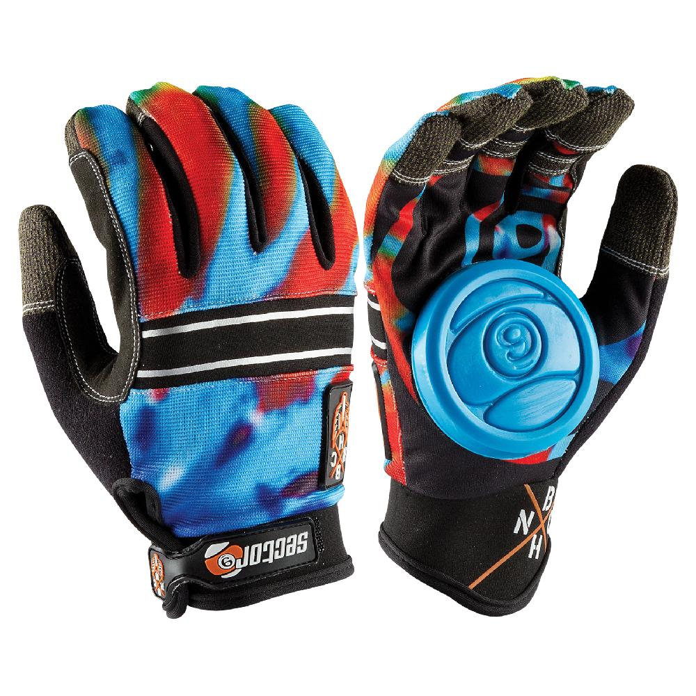 Longboard Downhill Red Blue Sliding Gloves - Blue Puck - Longboards USA