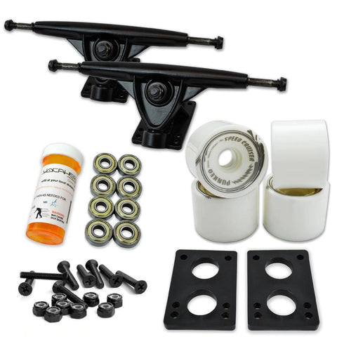Longboard Starter Combo Kit - with 70mm Wheels - Black Trucks - Longboards USA